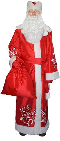 Костюм Дед Мороз с бородой красный