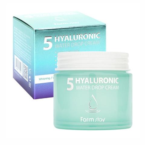 FarmStay Hyaluronic Крем суперувлажняющий для лица с гиалуроновым комплексом FarmStay Hyaluronic 5 Water Drop Cream, 80ml