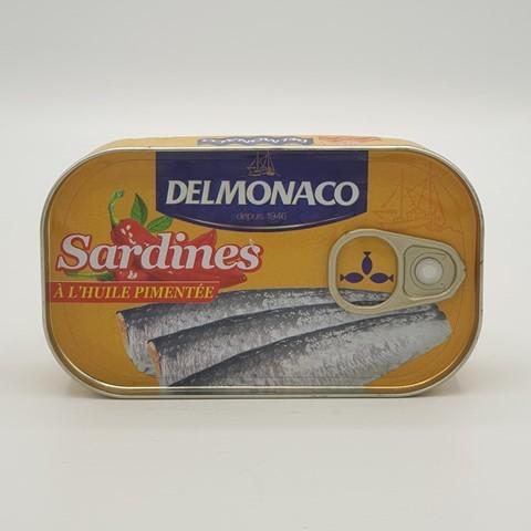 Сардины острые с перцем в растительном масле DELMONACO, 125 гр