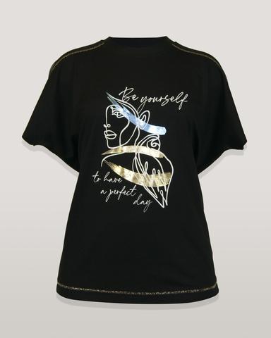 Блузка Marguerite лицо надпись к/р (черный)
