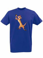 Футболка с принтом мультфильма Король лев (The Lion King, Тимон) синяя 003