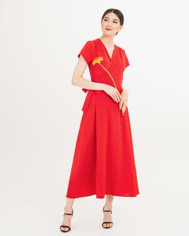 Платье на запах красное в мелкий горох миди