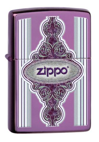 Зажигалка Zippo Classic с покрытием Abyss, латунь/сталь, сиреневая, глянцевая, 36x12x56 мм