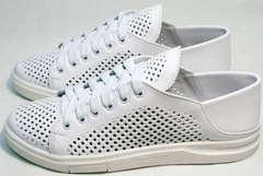 Летние белые туфли кеды с перфорацией женские ZiKo KPP2 Wite.
