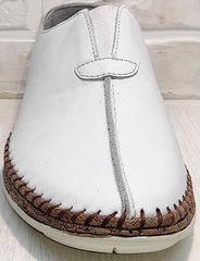 Летние туфли слипоны без шнурков стиль casual Luciano Bellini 91724-S-304 All White.