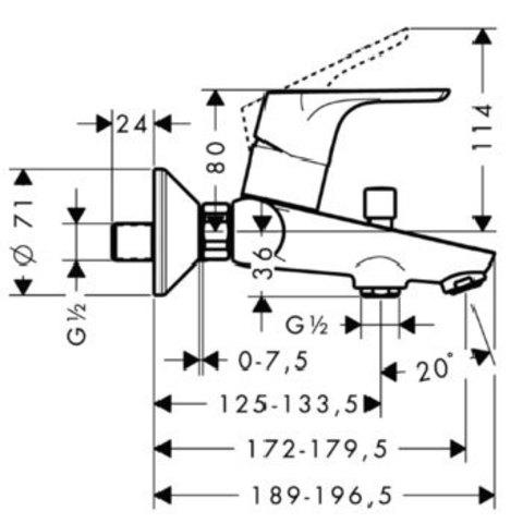 Смеситель для ванны Hansgrohe Focus E2 31940000 схема