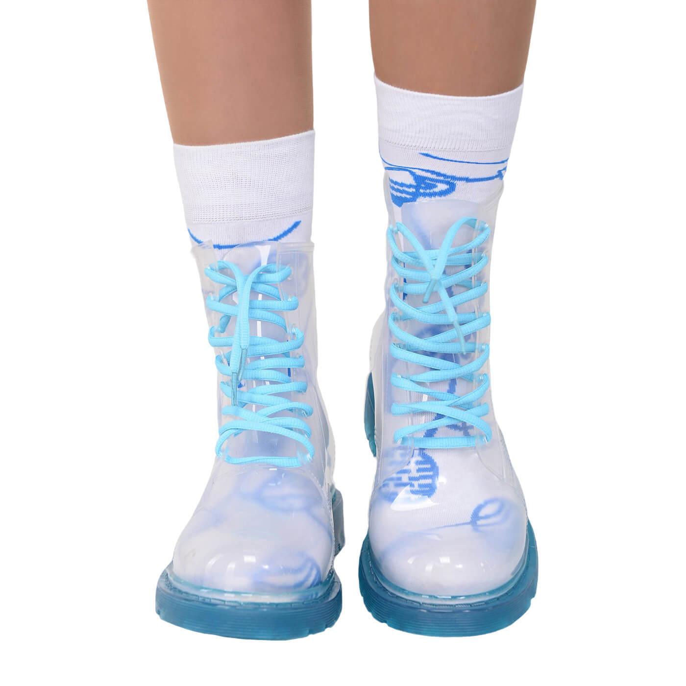 Прозрачные резиновые ботинки женские Invisible-Shoes с синей подошвой