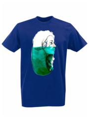 Футболка с принтом Кит (Море, Океан, волны) синяя 003