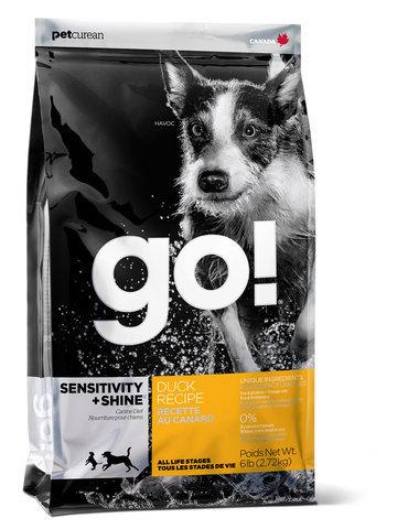 сухой корм GO! Гоу для щенков и собак всех пород с цельной уткой и овсянкой для чувствительного пищеварения