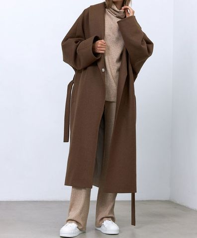 Пальто с комбинированным рукавом, цвет кофейный