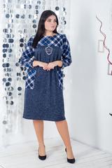 Сидни. Теплое комбинированное платье больших размеров. Синий