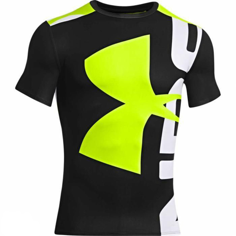 Футболка Under Armour Branded Compression Shirt, Black Green, новая