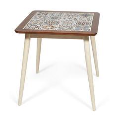 Стол с плиткой CT3030 Marrakesh (темный дуб/античный белый , рисунок - марокко )