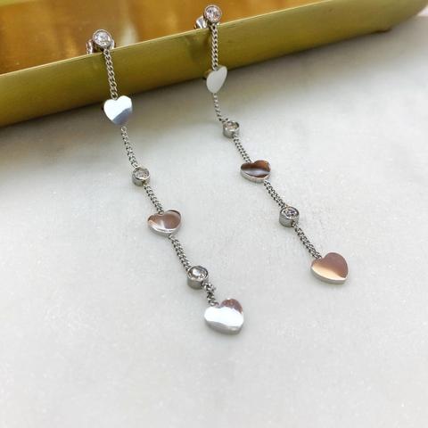 Серьги-цепочки с сердечками, сталь (серебристый)