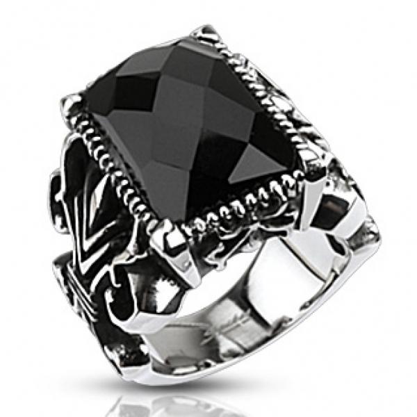 Широкий массивный мужской перстень из ювелирной стали с ониксом SPIKES R-Q5196