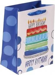 Пакет подарочный, С Днем Рождения (торт и свечи), Синий, 23*18*10 см, 1 шт.
