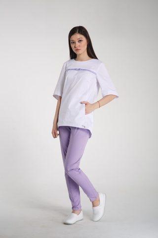 Куртка медицинская Т302 Белая с сиреневой тесьмой