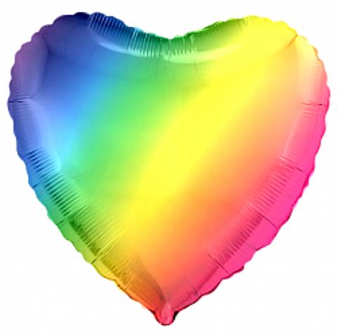 Шар-сердце радуга, градиент, 45 см
