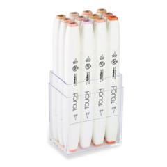 Touch Twin Brush набор маркеров для скетчинга 12 шт в кейсе - двусторонние спиртовые кисть/долото  (телесные)