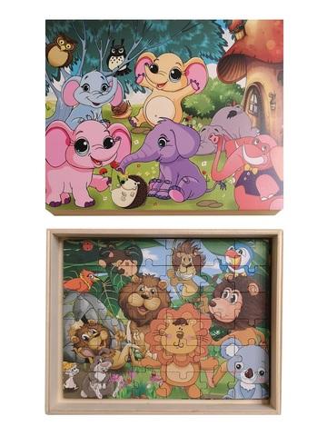 Развивающий пазл SHAPES PUZZLE Мульт Животные 4 картинки 114 элементов в деревянной коробке