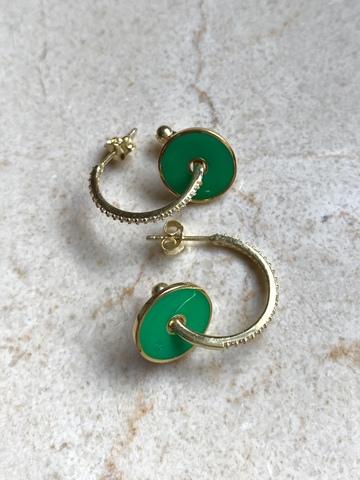 Серьги Пирс из позолоченного серебра, зеленая эмаль