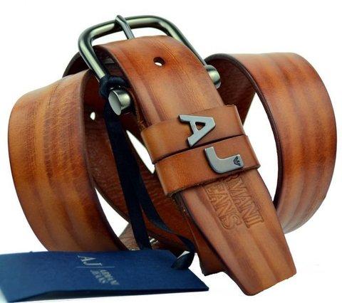 Рыжий мужской ремень Armani 30041 из кожи буйвола