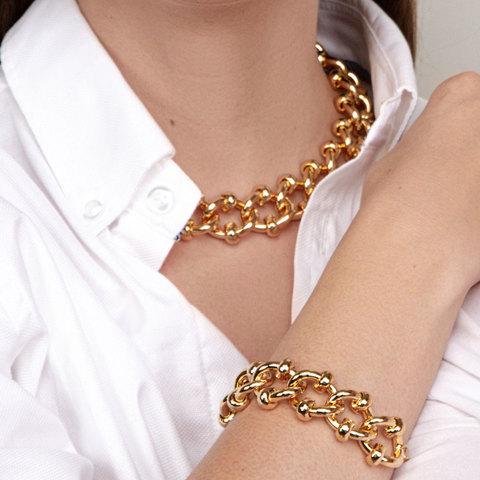 Браслет-цепь с декорированными звеньями золотой