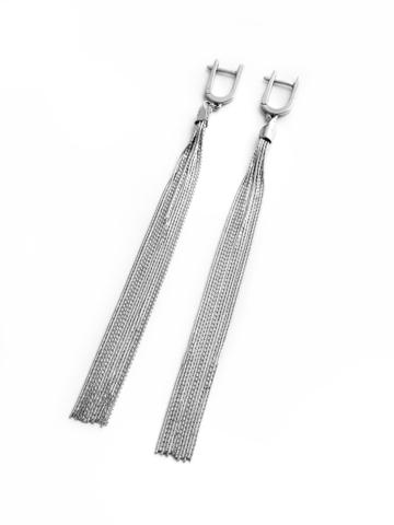 Серебряные серьги-кисти