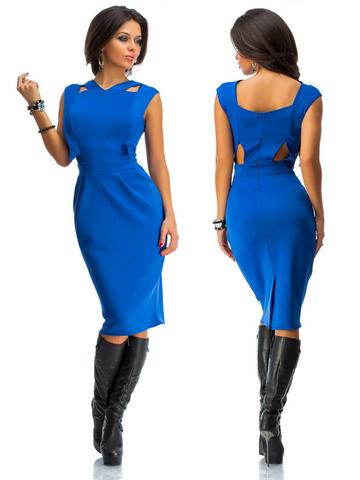 Платье миди с вырезами на спине, цвет синий