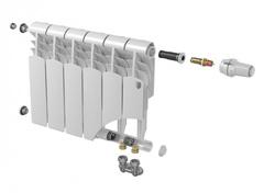 Биметаллический радиатор с нижним правым подключением Vittoria 350 VD - 8 секций