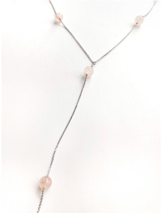 Серебряное колье-галстук с розовым кварцем