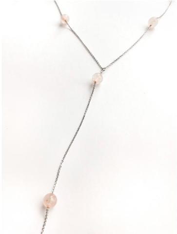 Серебряное колье галстук с розовым кварцем