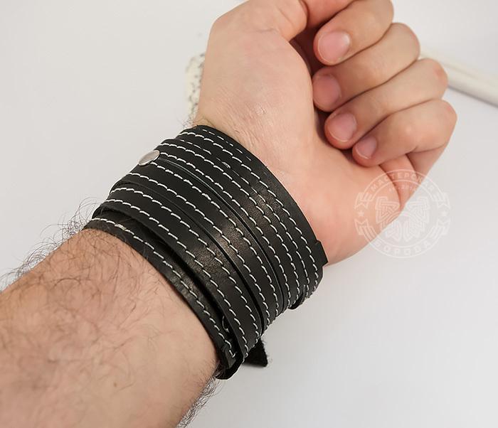 BL425-1 Мужской браслет напульсник из кожи, ручная работа, «Boroda Design» фото 06