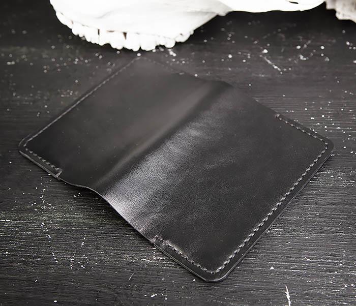 WB174-1 Черная обложка на паспорт из натуральной кожи фото 04