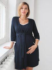 Евромама. Комплект для беременных и кормящих с рукавами 3/4, темно-синий вид 5