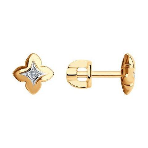1021710 - Серьги-пусеты из золота с бриллиантами