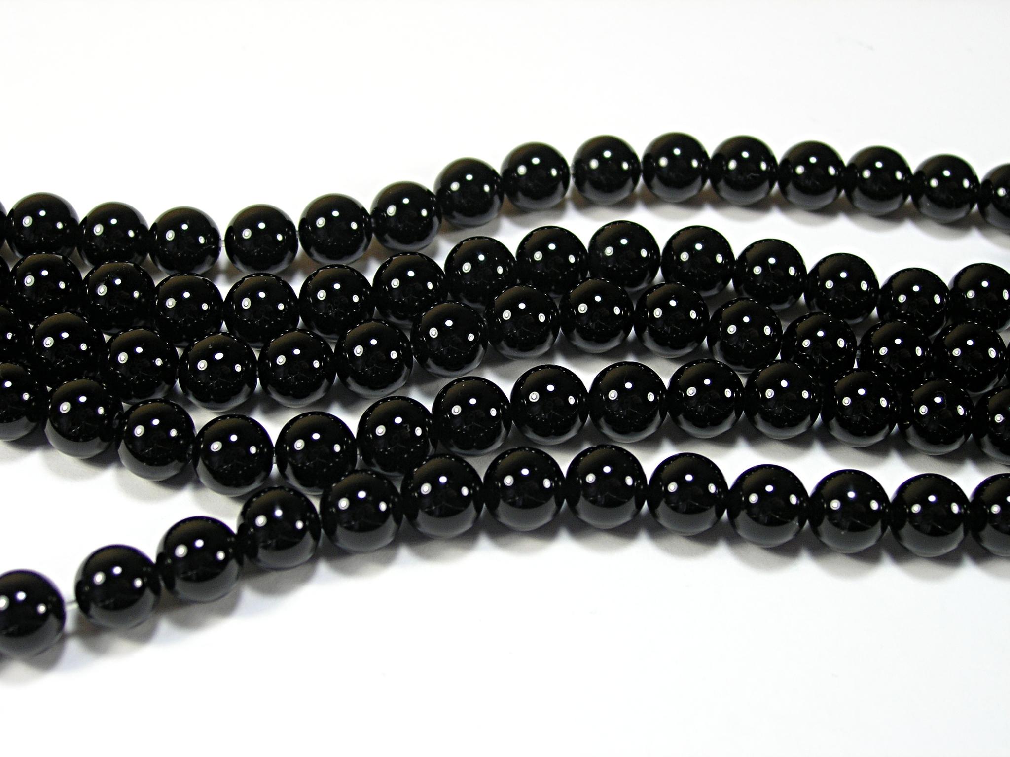 Нити бусин из оникса черного, шар гладкий 8мм (оптом)