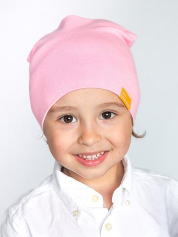 детская шапка хлопковая гладкая нежно-розовая