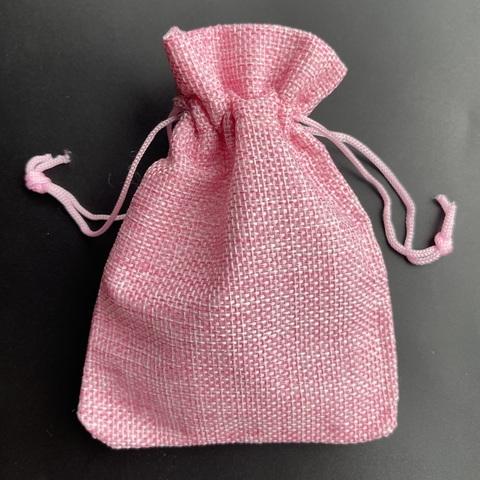 Мешочек из джута 10 х 14 см розовый