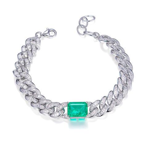 50496 - Браслет из серебра в цепочном стиле в обсыпке из микроцирконов с кварцем цвета турмалин