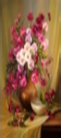 Алмазная Мозаика 30x40 Розовый букет в коричневой вазе