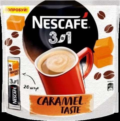 Растворимый кофе Nescafe 3 в 1 карамельный, в стиках, 20 шт