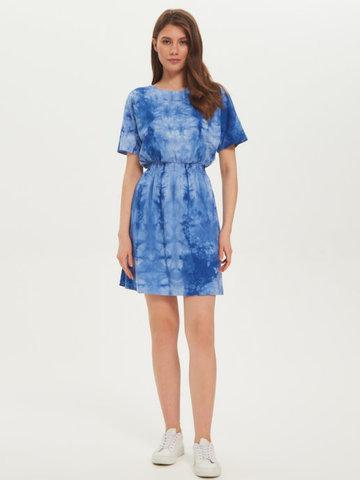 BM Платье пояс-резинка Тай-дай Синий/Бел