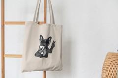 Сумка-шоппер с принтом Собака, Французский бульдог (Dog) бежевая 008