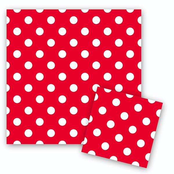Салфетки Горошек Красный 33см X 33см 12шт