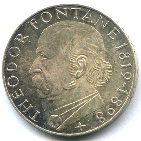 5 марок 1969 (G) Германия (150 лет со дня рождения Теодора Фонтане) AU серебро