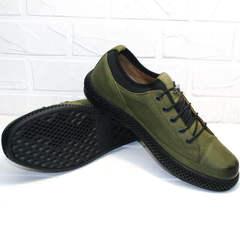 Кэжуал кеды туфли мужские кожаные Luciano Bellini C2801 Nb Khaki.