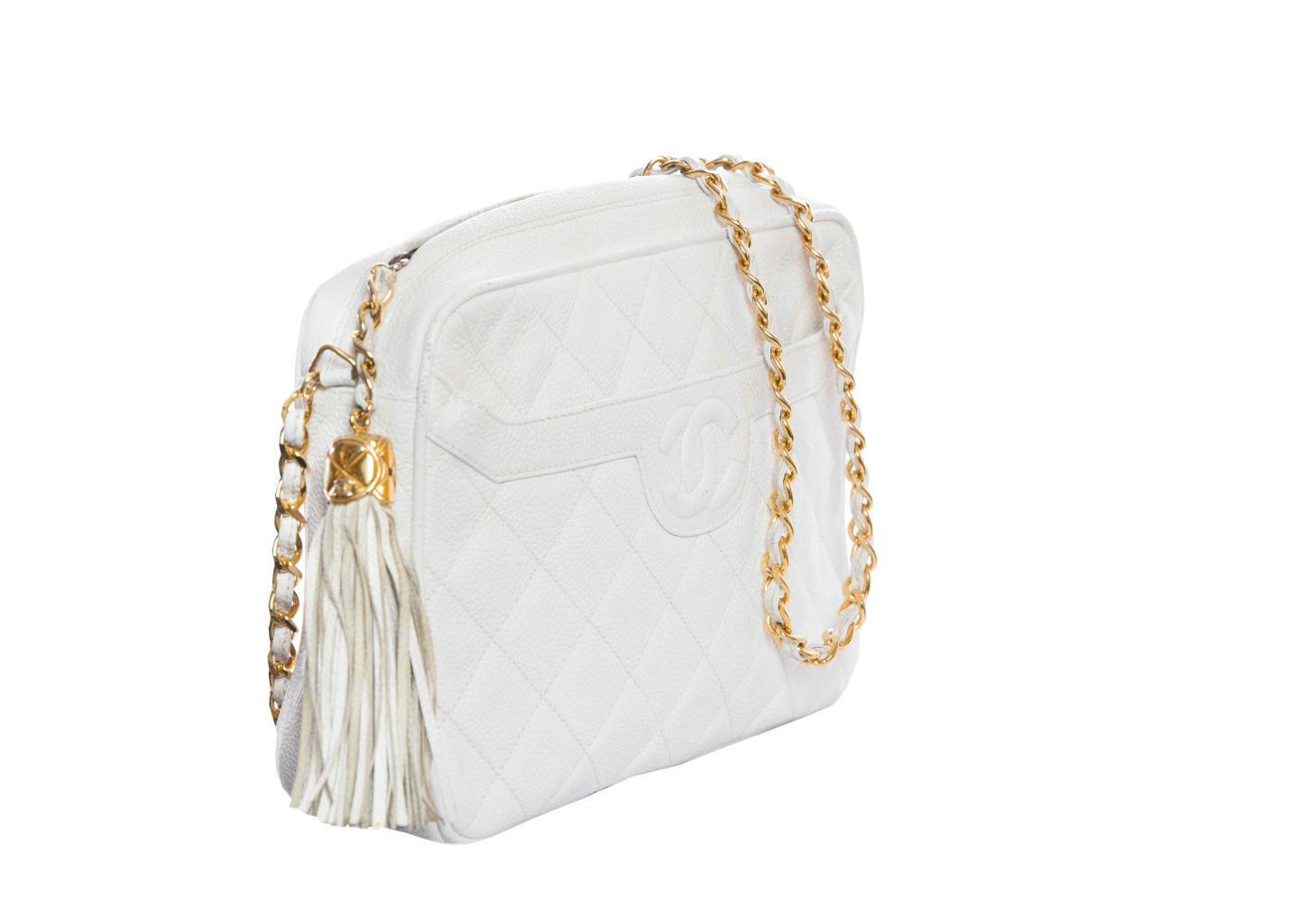 Beautiful white Chanel handbag with stitching and tassel
