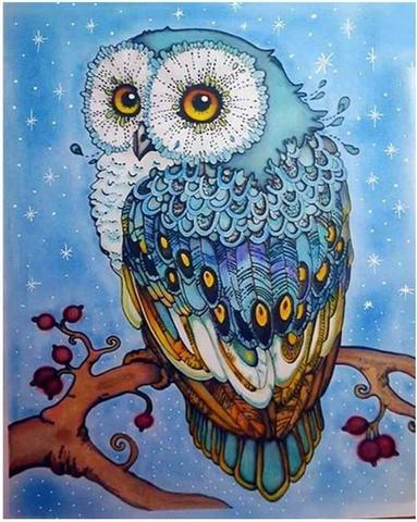 Алмазная Мозаика 30x40 Голубая сова