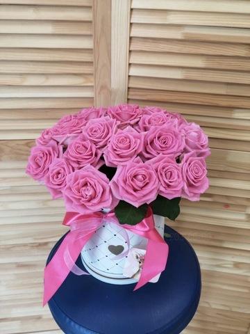 25 роз в шляпной коробке #2037